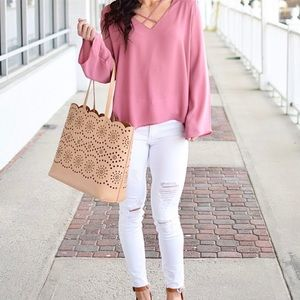 Pink strappy front blouse